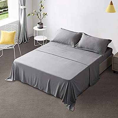 """Gonk Grey Bed Sheets King Size Sheets 4 Pieces 100% Durable Brushed Microfiber Sheets with 16"""" Deep Pocket Soft Breathable Wrinkle Free & Fade Resistant Bed Sheets and Cooling Sheets"""