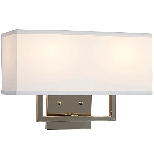 Hamilton Hills Modern Contemporary Wall Shade Sconce | Rectangular Light with Square Lines |  Lighting with LED Bulbs Included | Brushed Nickel