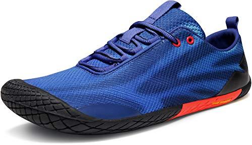 TSLA Men's Trail Running Minimalist Barefoot Shoe, Baretrek(bk32) - Blue & Red, 12