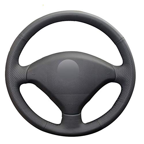 YHDNCG La Cubierta del Volante del Coche de Cuero Negro Cosida a Mano es Antideslizante y Resistente al Desgaste, para el Interior del Coche Peugeot 307