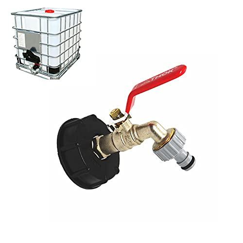 IBC - Adaptador de grifo de latón de 1,27 cm, grifo de bola IBC, contenedor de depósito, grifo de jardín para tanque de agua de lluvia