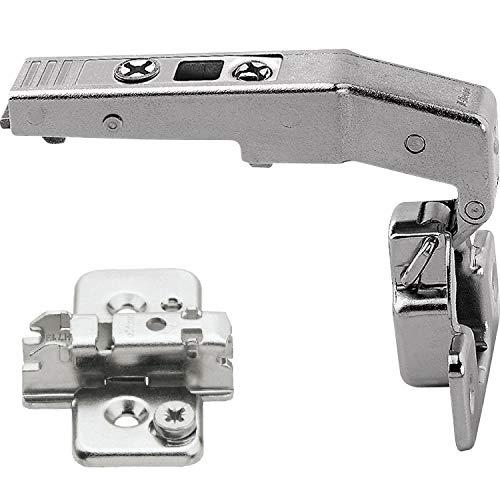 Gedotec Meubelscharnier voor vitrine deurband voor keukenkast, pannenband monteren - Clip Top | 95 ° | met veer | staal vernikkeld | met grondplaat | 1 set