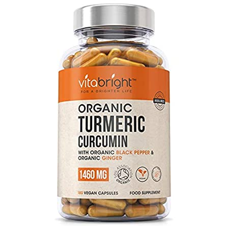 Organic Turmeric Curcumin 1460mg with Organic Black Pepper & Organic Ginger – High Potency – Max Absorption Formula – 180 Veg Capsules – Certified Organic, Non GMO, Vegan & Gluten Free