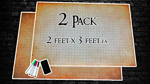 "RPG Gaming Battle Mat | 2 Pack 24"" x 36"" with 1"" Grid System 