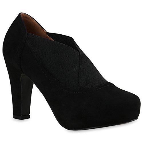 Damen Stiefeletten Ankle Boots Schnürstiefeletten Retro Style Schuhe 138779 Schwarz Elastikband 39 Flandell