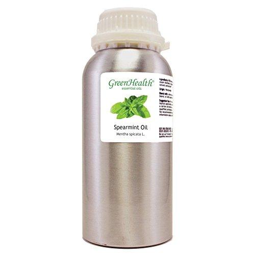 Spearmint – 32 fl oz (946 ml) Aluminum Bottle w/Plug Cap – 100% Pure Essential Oil – GreenHealth