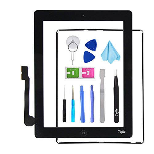 Tefir zwart vervangend scherm voor iPad 3 A1416 A1403 A1430, iPad3 Touch Screen Digitizer Front Glass Assembly -Inclusief Home Button+Camera Bracket+Voorgeïnstalleerde lijm+Frame+Tools Kit