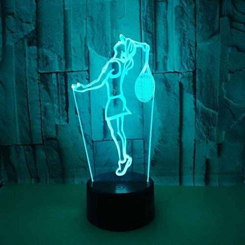 LED Nachtlicht Tennis spielen Geschenk Spielzeug Dekoration 3D Fantasie Licht 7 Farbe Touchscreen-Steuerung USB Netzteil Partei große dekorative Licht 3D visuelles Licht Hauptdekoration Weihnachten G