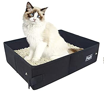 Petsfit Portable Litière pour Chat Pliable Maison de Toilette pour Chat,Boîtes Litières Légere De Voyage, Tissu, 47cm x 37cm x 14cm, Noire