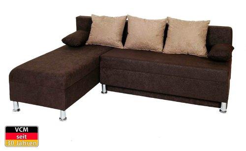 VCM Ecksofa Couch Sofa 196 x 70 x 150 x 78 cm, Schaumstoff / Mikrofaser, braun