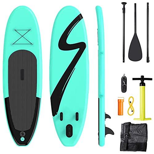 Tabla Paddle Surf Hinchable, Tabla de Paddle Surf Hinchable, 305 X 76 X 15 cm,Paddle Surf Hinchable, 15cm de Grosor, Incluida Mochila, Antideslizante, Accesorios, Bomba, para Todos los Niveles, Verde