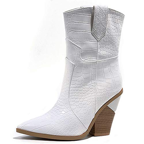 Lydee Mujer Moda Chunky Tacon Western Boots Ankle High Animal Pattern Dress Booties Pointed Toe Slip On Heels White Talla 34