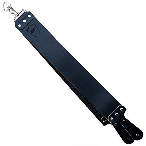 "Parker's Handmade Latigo Leather Straight Razor Strop for Sharpening Straight Razors & Knives – Made in USA – 3"" x 27"" (Black)"