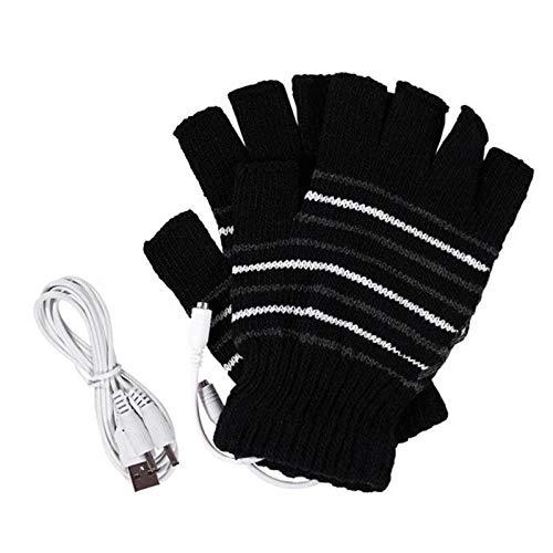Guantes calefactables por USB, Guantes de Invierno para Hombres y Mujeres llenos de Invierno con Medio Dedo Guantes calefactores a Prueba de heladas para Interiores o Ex(Color:lineas blancas y negras)