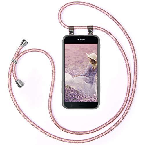 moex Handykette kompatibel mit Huawei Nova Hülle mit Band Längenverstellbar, Handyhülle zum Umhängen, Silikon Hülle Transparent mit Kordel Schnur abnehmbar in Rosegold