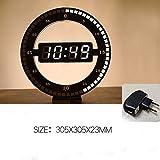 Reloj de pared digital LED fotorreceptivo circular Diseño moderno Relojes digitales de atenuación de doble uso para la decoración del hogar ENCHUFE DE LA UE, ENCHUFE DE LA UE, España
