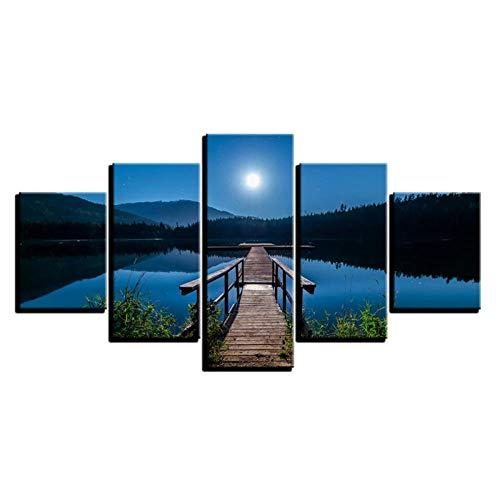 Póster de pared 5 piezas puente de madera pintura arte lienzo lago paisaje imágenes oficina sala de estar dormitorio decoración de pared 40x60 40x80 40x100cm sin marco artppolr