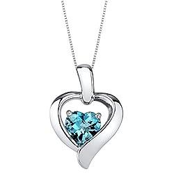 Sterling Silver Heart in Heart Pendant In London-Blue Colored Stone
