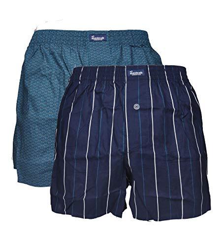Abanderado Pack de 2 Boxer Abiertos de Tela Estampada, Azul (EST Petroleo Aspa 1lg), X-Large (Tamaño del Fabricante: XL/56) Hombre