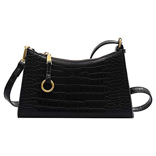 Retro classico borsa a tracolla borsa a tracolla borsa a tracolla vintage modello coccodrillo con 2 cinghie chiusura a cerniera