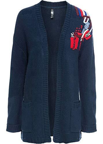 bonprix Oversize-Strickjacke mit Stickerei dunkelblau/rot 48/50 für Damen