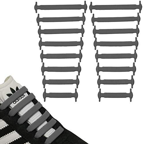 JANIRO Elastische Silikon Schnürsenkel flach | flexible schleifenlose Schuhbänder ohne Binden | Kinder & Erwachsene - Grau