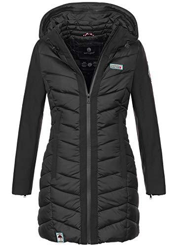 Navahoo Damen Wintermantel Mantel Steppmantel warm Winter Jacke lang Stepp B674 [B674-Fluss-Schwarz-Gr.S]