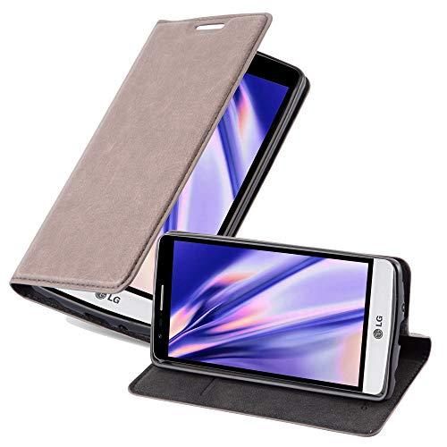 Cadorabo Hülle für LG G3 Mini / G3 S in Kaffee BRAUN - Handyhülle mit Magnetverschluss, Standfunktion & Kartenfach - Hülle Cover Schutzhülle Etui Tasche Book Klapp Style