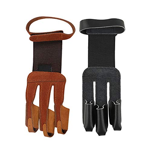 RMISODO 2 Pieces Archery Gloves 3 Finger Leather Hand
