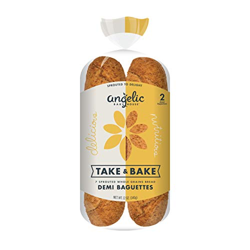 Angelic Bakehouse TakeandBake Baguettes– 12 Ounce Pack of – Sprouted Whole Grains – Vegan Kosher and NonGMO 6, Demi Baguettes, 3 Count