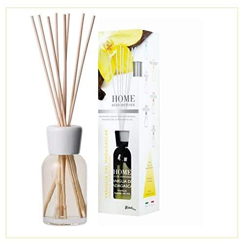 Diffusore profumato per ambiente profumo di Vaniglia del Madagascar - 125ml - con 6 bastoncini di bambù - Fragranza intensa e duratura, profumo da camera per aromatizzare