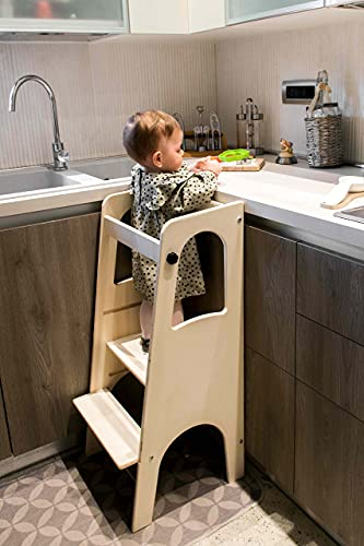 Pekiedo Torretta Montessori per Bambini in Legno | Learning Tower | Personalizzabile col Proprio Nome con Adesivi Inclusi | Giochi Educativi Montessori | 100% Made in Italy