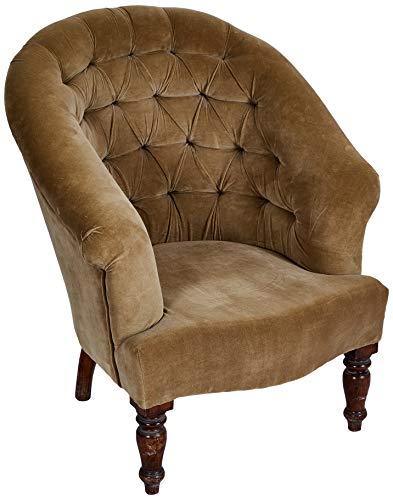 Better & Best 0563276 Butaca capitoné tapizada terciopelo de madera y algodón, color: topo