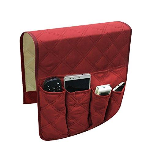 Ophanginrichting van THEE voor het opbergen van afstandsbedieningen, houder met zakken voor het ophangen van armleuningen van stoelen/banken, anti-slip rood