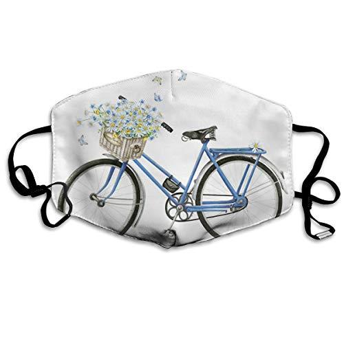 Houity stofdicht wasbaar masker, aquarel blauw fiets met mooie bloem mandje, zacht, ademend, wasbaar, knop verstelbare masker, geschikt voor mannen en vrouwen maskers