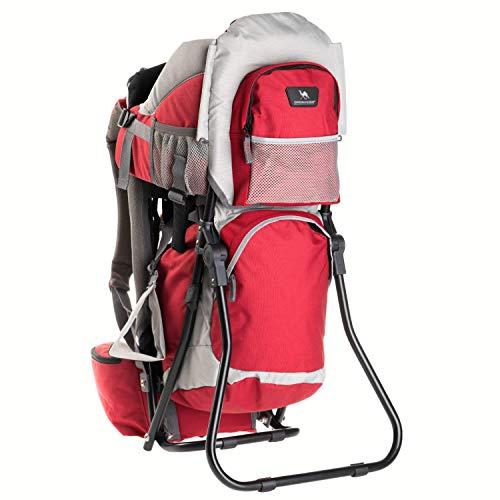 DROMADER Porte-bébé de randonnée Koala | Poids maximum de l'enfant de 22 kg | Confortable siège réglable | Système de support 3D Opti–fit | Avec protection solaire et parasol | rouge et gris