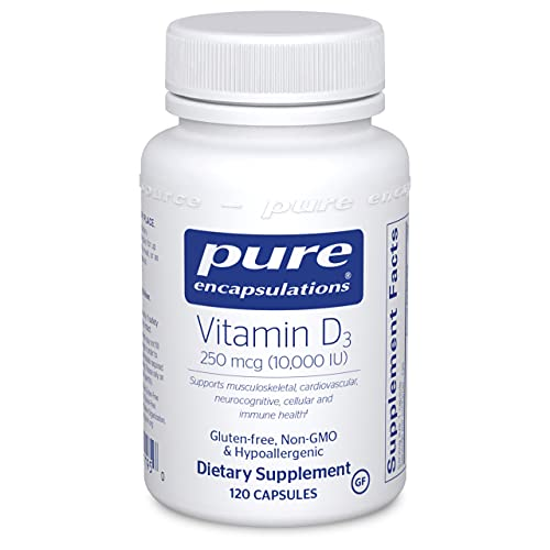 Pure Encapsulations Vitamin D3 250 mcg (10,000 IU) | Supplement to Support Bone, Joint, Breast, Prostate, Heart, Colon and Immune Health* | 120 Capsules