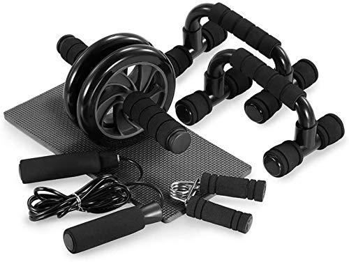 Plztou Rueda Abdominal 5-en-1 Kit de Rodillos Rueda AB con Push-up Barra de Salto de Cuerda agarrador de la Mano y la Rodilla Pad Entrenamiento Abdominal Core Carver Fitness