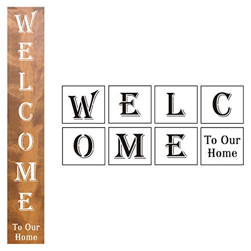 Large Welcome Sign Stencils Vertical - 8 Pack Welcome Stencil Templates for Painting on Wood, Reusable Welcome to Our Home Letter Stencils for Front Porch Signs