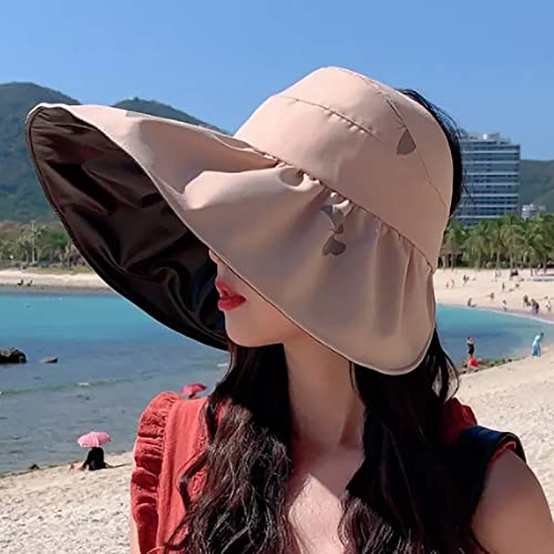 Dingyi Sombrero para el Sol Verano Mujer Visera de Cola de Caballo ala Ancha Proteccin UV Arco Sombrero de Playa Sombrero Amarillo para Mujer Sombreros para Mujer Gorra Plegable Casual Correr