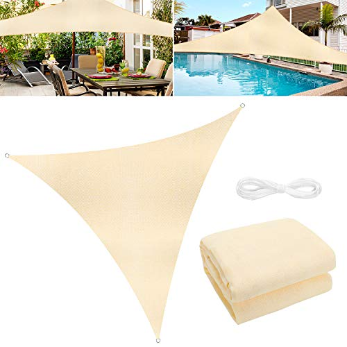 WOKKOL Sonnensegel, Sonnensegel Garten, Sonnenschutz Balkon, Überlegene Reißfestigkeit, 90% UV-beständig, Atmungsaktiv, 185 g/㎡ HDPE mit Dichte, für Terrasse/Garten(5M x 5M x 5M)