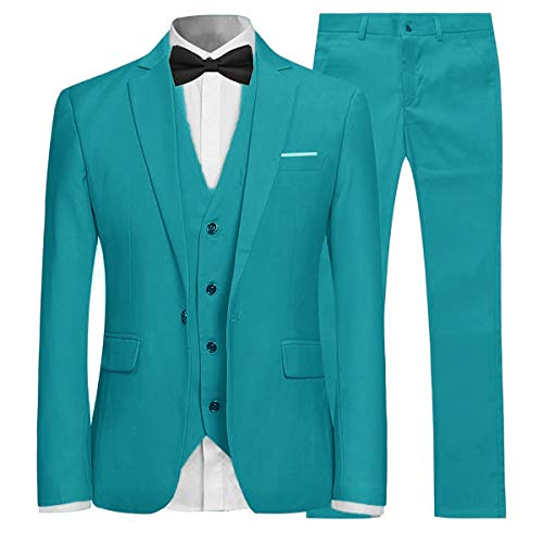Heren Past 3 Stuk Slim Fit Bruiloft Formele Tuxedo Een Knop Sluiten Blazers Jas Waistcoat Broek