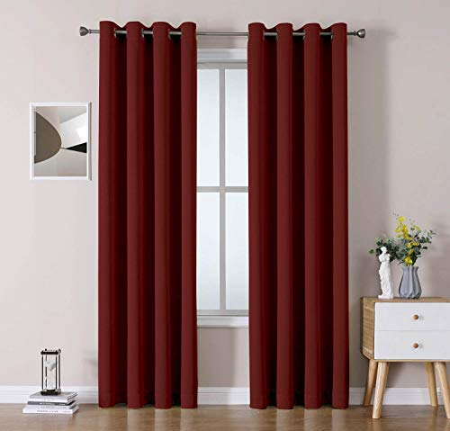 OWENIE Heavy Weight Double-face Linen Texture Look Burlap Curtains, Room Darkening Window Curtains for Bedroom/Living Room, Thermal Insulated Solid Grommet Drapes,52 x 84 Inch, Red (2 Panel)