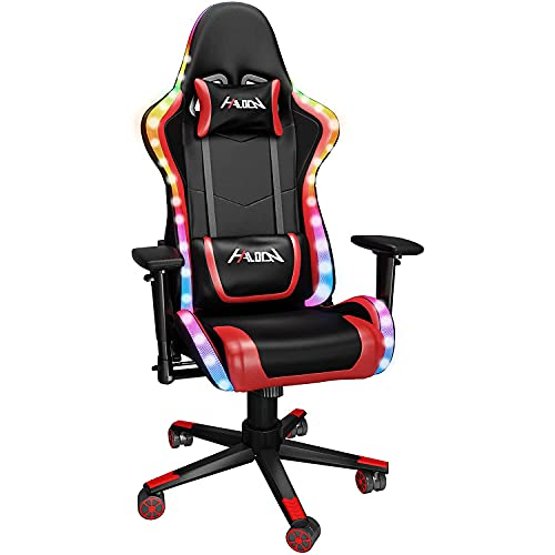 LED Light Chair,Gaming Chair with RGB Light, Ergonomic Design Reclining Swivel chair, PU Leather High Back Office PC Desk Chair with Lumbar Cushion and headrest, Adjustable Armrest (Red)