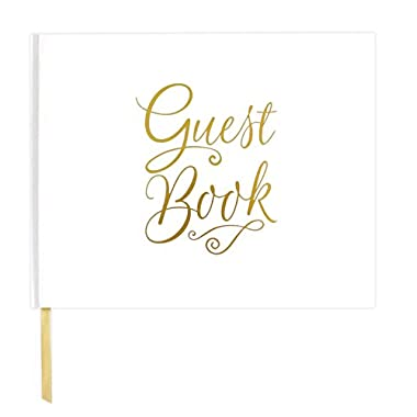 bloom daily planners Wedding Guest Book (120 pages) Guest Sign-In Book Guest Registry Guestbook - White Cover with Gold Foil, Gilded Edges and Gold Page Marker Hardbound 7  x 9  - Classic