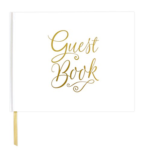 """bloom daily planners Wedding Guest Book (120 Pages) Guest Sign-in Book Guest Registry Planner Guestbook - White Cover with Gold Foil, Gilded Edges and Gold Page Marker Hardbound 7"""" x 9"""" - Classic"""