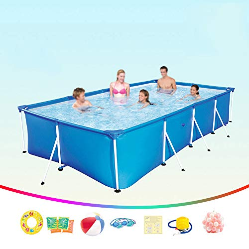 DEAR-JY Frame Pools,Piscine fuoriterra,400x211x81CM,Piscina Rettangolare con Struttura in Acciaio,Piscina per Bambini ad Alta capacità per Adulti Interna ed Esterna