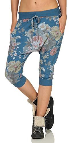 malito dames harembroek kort | Boyfriendbroek in baggy style | Joggingbroek met rozen print | Pants - Bermuda 20027