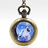 Vintage Howling Wolf on The Moon Handmade Pocket Watch Necklace Animal Jewelry-Bronze Quartz Watches Chain Necklace
