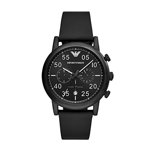 Emporio Armani Herren Chronograph Quarz Smart Watch Armbanduhr mit Leder Armband AR11133